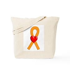 Orange Ribbon Heart Tote Bag