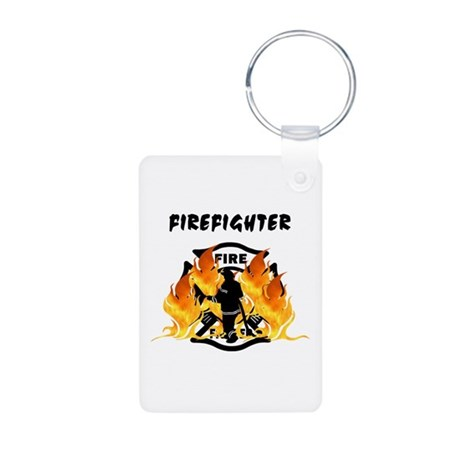 Firefighting Flames Aluminum Photo Keychain