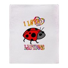 I Love Ladybugs Throw Blanket