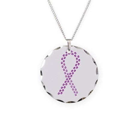 Purple paw ribbon Necklace Circle Charm