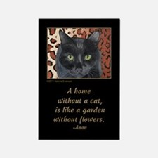 Black Cat on a Leopard Rug Rectangle Magnet