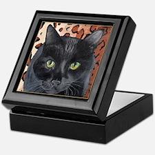 Black Cat on a Leopard Rug Keepsake Box