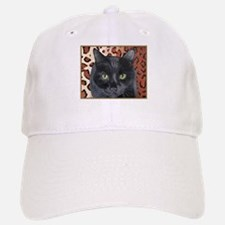 Black Cat on a Leopard Rug Baseball Baseball Cap