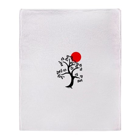 Japanese Tree and Sunscape Yoga Throw Blanket