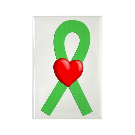 Lime Ribbon Heart Rectangle Magnet (10 pack)