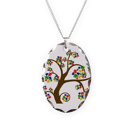 Autism Tree of Life Necklace Oval Charm