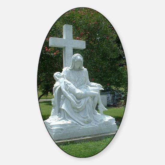 Pieta Statue Oval Decal