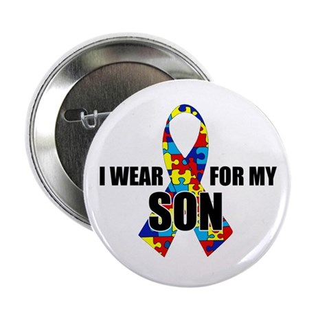 """Autism Ribbon for My Son - 2.25"""" Button"""
