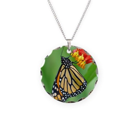 Monarch & Milkweed No3 Necklace Circle Charm