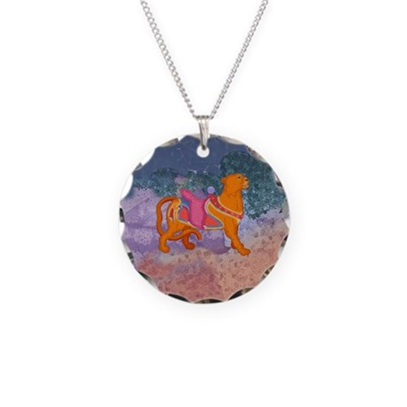 Carousel Tiger Necklace Circle Charm