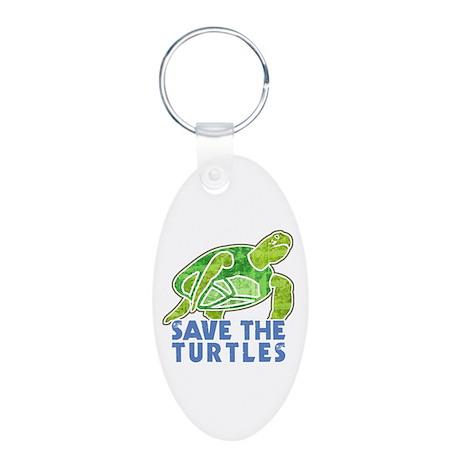 Save the Turtles Aluminum Oval Keychain