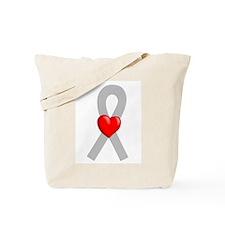 Gray Ribbon Heart Tote Bag