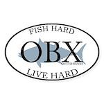 Fish Hard...Live Hard OBX Sticker (Oval)