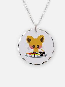 """""""I love Sushi"""" Necklace Circle Charm"""