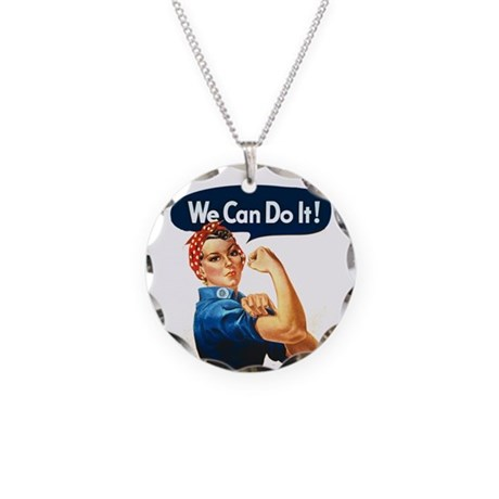 Rosie the Riveter Necklace Circle Charm