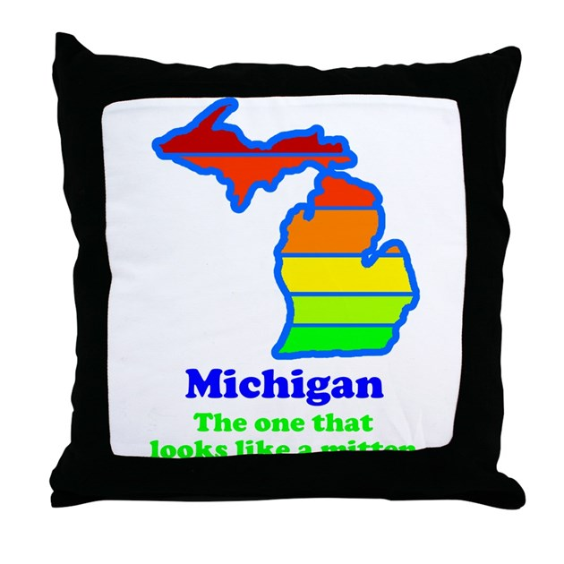 Say Yes To Michigan and The M Throw Pillow by everybodyshirts