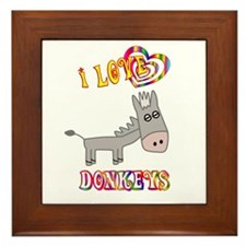 I Love Donkeys Framed Tile