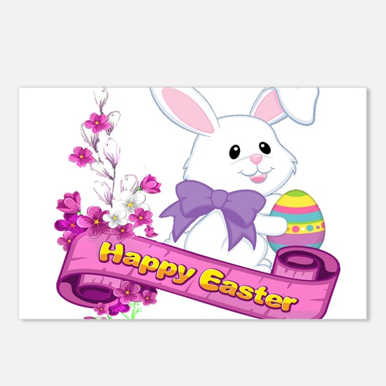 White Easter Bunny Banner Postcards (Package of 8)