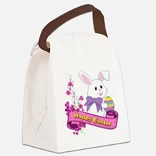 White Easter Bunny Banner Canvas Lunch Bag