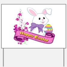 White Easter Bunny Banner Yard Sign