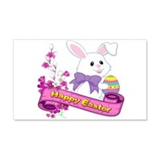 White Easter Bunny Banner Decal Wall Sticker