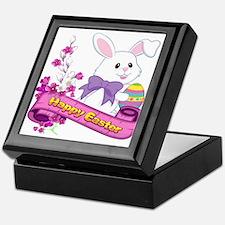 White Easter Bunny Banner Keepsake Box