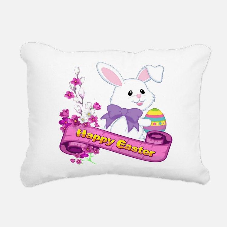 White Easter Bunny Banner Rectangular Canvas Pillo