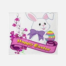 White Easter Bunny Banner Throw Blanket