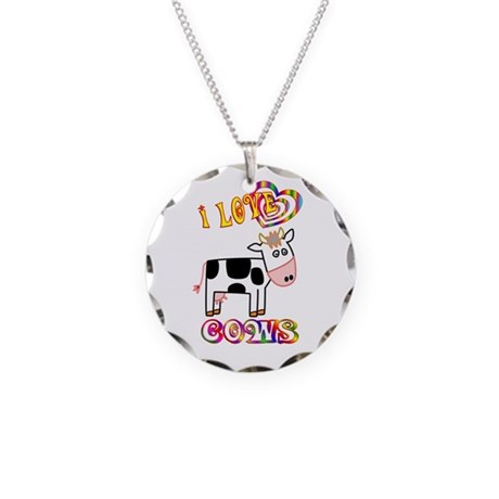 I Love Cows Necklace Circle Charm