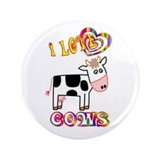 """I Love Cows 3.5"""" Button (100 pack)"""