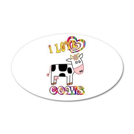 I Love Cows 22x14 Oval Wall Peel