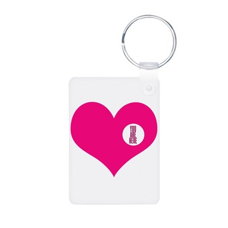 HEART - YOU ARE HERE Aluminum Photo Keychain