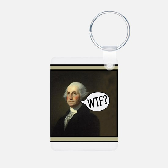 George WTF Aluminum Photo Keychain