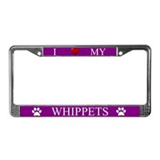 Purple I Love My Whippets License Plate Frame