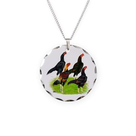 Oriental Gamefowl Necklace Circle Charm