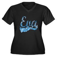 EVA Women's Plus Size V-Neck Dark T-Shirt