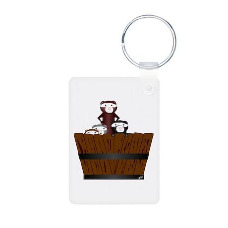 Ferrets in a bucket Aluminum Photo Keychain