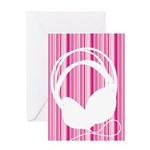 Pink Stripe Headphone Silhouette Greeting Card