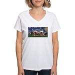 Starry / 2 Affenpinschers Women's V-Neck T-Shirt