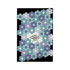 Honeybee Flowers Lavender Rectangle Magnet
