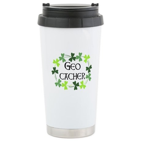 Geocacher Shamrock Oval Stainless Steel Travel Mug