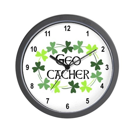 Geocacher Shamrock Oval Wall Clock