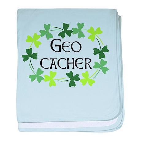 Geocacher Shamrock Oval baby blanket