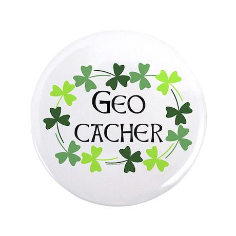 """Geocacher Shamrock Oval 3.5"""" Button"""