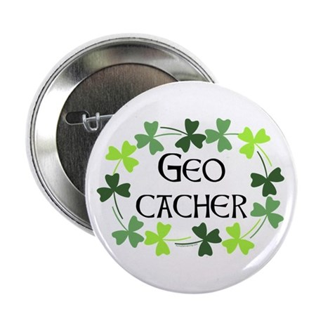 "Geocacher Shamrock Oval 2.25"" Button"