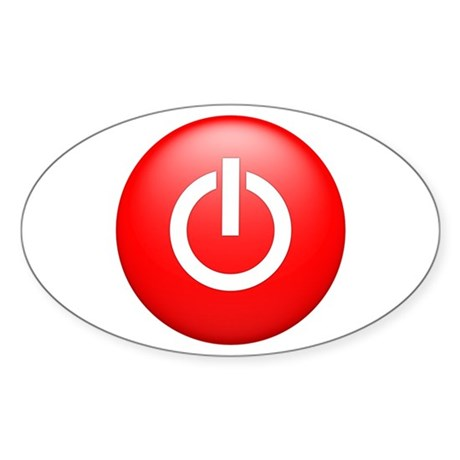 Red Power Button Sticker (Oval)