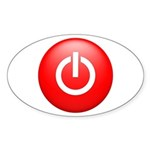 Red Power Button Sticker (Oval 50 pk)