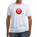Red Power Button Fitted T-Shirt
