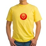 Red Power Button Yellow T-Shirt