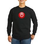 Red Power Button Long Sleeve Dark T-Shirt